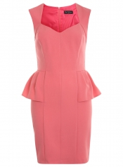 Pink V neck peplum dress