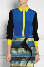 PRABAL GURUNG Color-block silk crepe de chine blouse