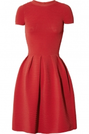 VALENTINO Ribbed stretch-crepe dress