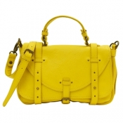 Yellow leather satchel