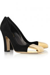 YVES SAINT LAURENT Mae suede and metal pumps