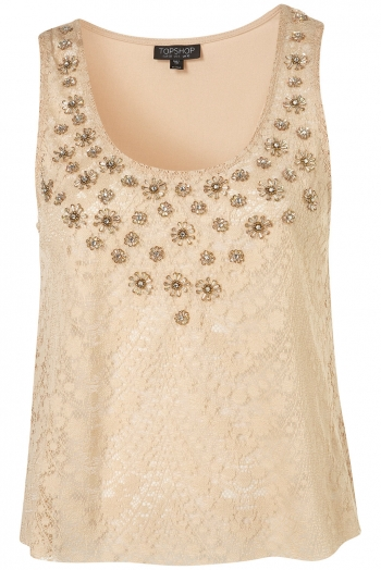 Nude embelished lace crop