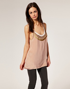 Nude Tank with perles