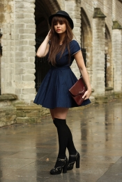 Autumn blue dress look