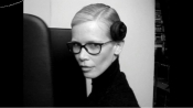 Claudia Schiffer, the face of Karl Lagerfeld' s eyewear collection
