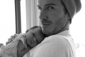 David Beckham and baby girl moment
