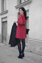 Burgundy dots dress