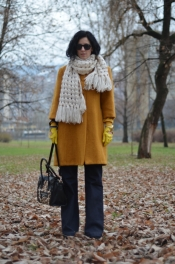 Vintage coat and big winter scarf