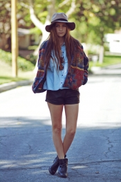 Denim shirt and vintage jacket