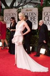 Charlize Theron in Dior Couture gown at Golden Globe Awards