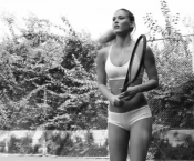 Bar Refaeli advertising her own lingerie line playing tennis