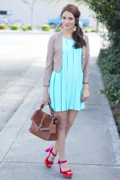 Mint dress and colourful shoes
