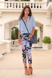 Floral print pants and light blue shirt