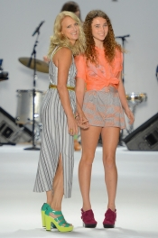 Nanette Lepore and daughter on the Runway at Mercedes Benz Fashion Week