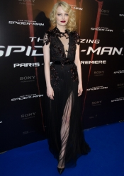 Emma Stone in Gucci dress at Paris Spiderman Premiere
