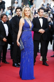 Sharon Stone in cobalt blue dress at Behind The Candelabra Cannes premiere