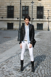 Leather jacket, vintage top and white jeans