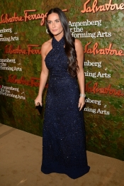 Demi Moore, Gwen Steffani in similar Salvatore Ferragamo dresses