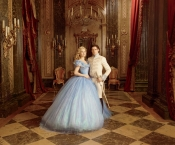 Princess gown and glass slipper for Lily James in Cinderella
