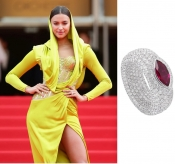 Model Irina Shayk wearing Avakian on the Red Carpet of  Cannes Film Festival