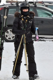 Madonna skiing in Gstaad, Switzerland