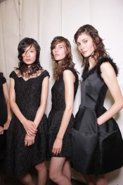 Backstage hair and makeup at Simone Rocha at London Fashion Week