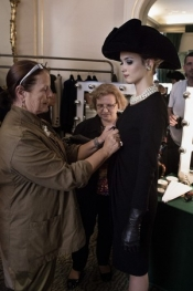 The backstage of the film Yves Saint Laurent with Pierre Bergé