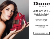 Up to 30% off with Dune London starts today