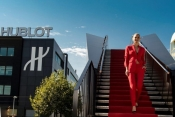 Bar Refaeli, Lapo Elkann and Pelé at the inauguration of the second Hublot production building