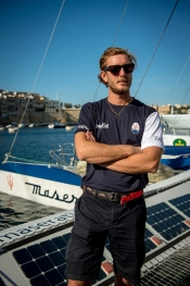 Pierre Casiraghi on board of Maserati Multi70 at the Rolex Middle Sea Race