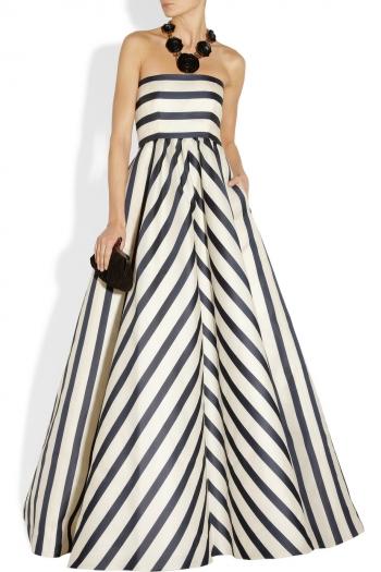 609307a5e6dfe OSCAR DE LA RENTA Striped silk-blend gazar gown