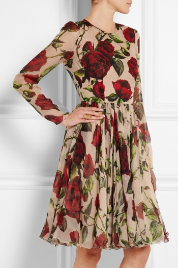1ebf1f0915 DOLCE   GABBANA Floral-print silk-chiffon dress