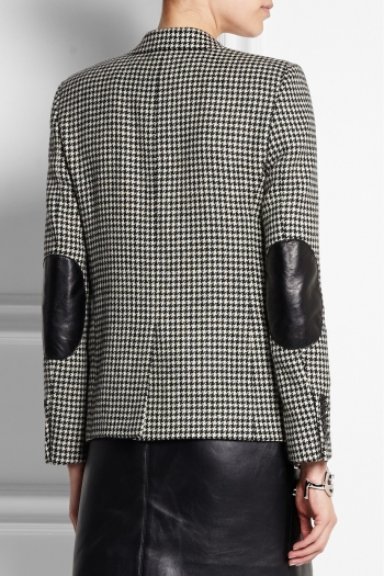 Saint Laurent Leather Trimmed Houndstooth Wool Tweed Blazer