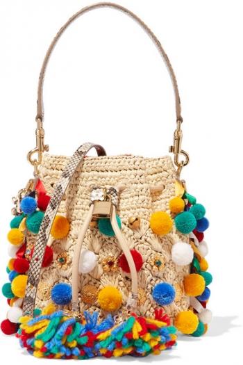 DOLCE   GABBANA Mini embellished python-trimmed raffia bucket bag 6f60eccbc2316