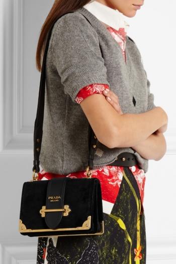 db16e387f8a2 ... promo code for prada cahier leather trimmed velvet shoulder bag e5a6c  df62e
