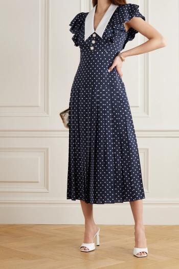 Alessandra Rich - Button-embellished Ruffled Polka-dot Silk Midi Dress - Navy