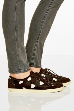 Burberry OXBLOOD HEART PRINT PONYHAIR TRAINERS