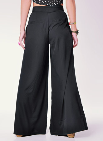 Women's Black Flared Greta Trousers By Vila
