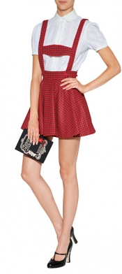 OLYMPIA LE-TAN Wool Checked Gottfried Skirt in Red