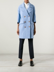 Femme contrast double breasted coat