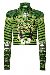 Jade/Onyx Printed Cropped Jacket Mary Katrantzou