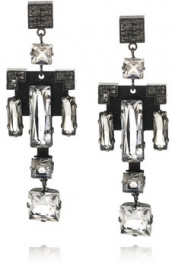 LANVIN Geometric Swarovski crystal earrings