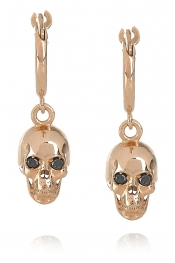 ILEANA MAKRI Skull 18-karat rose gold and diamond earrings