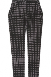 VIONNET Printed wool-blend cropped pants