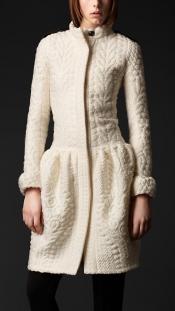 Drop waist lightweight knit wool silk coat Burberry