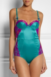 L'AGENT BY AGENT PROVOCATEUR Marisela lace-trimmed stretch-satin bodysuit