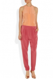 TIBI Color-block silk jumpsuit
