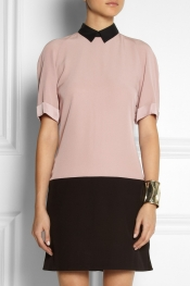 VICTORIA, VICTORIA BECKHAM Two-tone crepe dress
