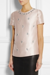 TORY BURCH Vesper bead-embellished woven silk top