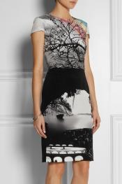 MARY KATRANTZOU Landscape-print silk dress
